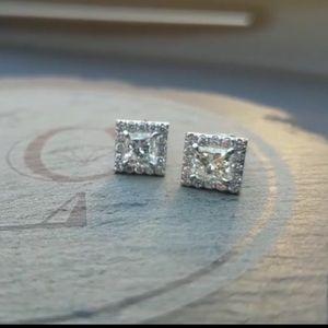 Jewelry - 🆕 18k WG Genuine Diamond Princess Earrings